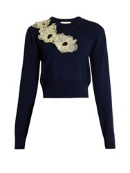 Roksanda Ilincic Nobuya Floral Applique Wool Knit Cropped Sweater Navy