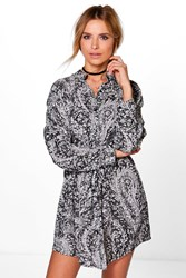 Boohoo Paisley Print Tie Front Shirt Dress Black
