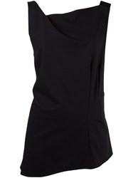 Ann Demeulemeester Asymmetric Twisted Collar Top Black