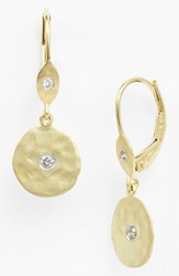 Meira T Women's Meirat 'Charmed' Diamond Hammered Drop Earrings Yellow Gold