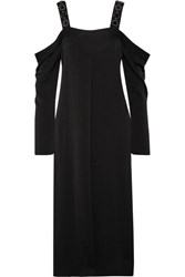 Elizabeth And James Fynn Cold Shoulder Embellished Crepe De Chine Midi Dress Black