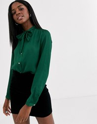 Pimkie Tie Neck Blouse In Green