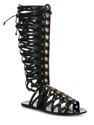 Ivy Kirzhner Symphony Tall Grommeted Leather Gladiator Sandals Black