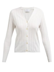 Allude Ribbed Knit Cotton And Silk Blend Cardigan Ivory