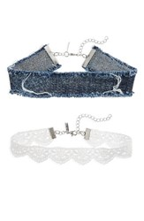 Topshop Women's Set Of 2 Lace And Denim Chokers Blue Multi