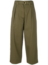 Alexander Wang T By Paperbag High Waisted Trousers Women Cotton 0 Green