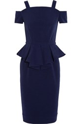 Raoul Sloane Cold Shoulder Crepe Peplum Midi Dress Midnight Blue
