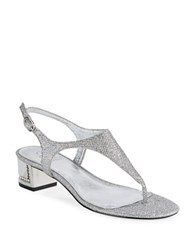 Adrianna Papell Cassidy Embellished Thong Sandals Silver