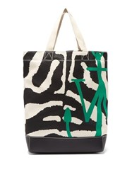 J.W.Anderson Jw Anderson Zebra And Leopard Print Canvas Tote Bag Black White