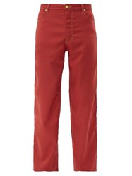 Eckhaus Latta Topstitched Twill Wide Leg Trousers Red