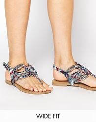 New Look Wide Fit Farrising Multi Coloured Gladiator Flat Sandals Blue