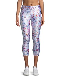 Terez Tall Band Paint Splatter Printed Capri Leggings White Pattern