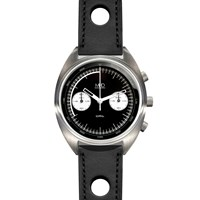 Mhd Watches Cr1 Reverse Panda Dial Chronograph Watch With Black Strap Black White Grey