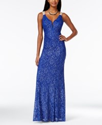 City Triangles City Studios Juniors' Embellished Illusion Glitter Lace Gown