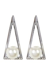 Cara Accessories Embellished Triangle And Synthetic Pearl Earrings Metallic