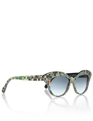 Wunderkind Turquoise Mosaic Cat Eye Sunglasses