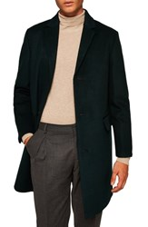 Topman Wool Blend Overcoat Green