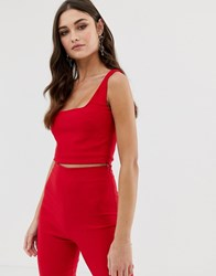 Vesper Square Neck Crop Top Co Ord In Red