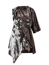 Marques Almeida Marques'almeida Open Back Asymmetric Sequinned Mini Dress Silver