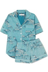 Desmond And Dempsey Printed Cotton Voile Pajama Set Turquoise