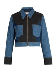 Sonia Rykiel Point Collar Patchwork Cotton Blend Denim Jacket Blue Multi
