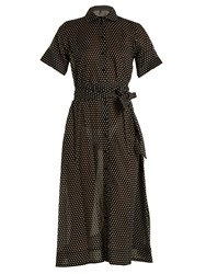 Lisa Marie Fernandez Polka Dot Print Cotton Shirtdress Black Multi