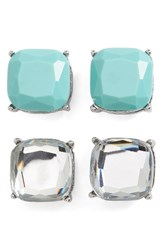 Women's Bp. Square Stud Earrings Set Of 2 Blue Green