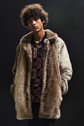 Urban Outfitters Uo Faux Fur Top Coat Taupe