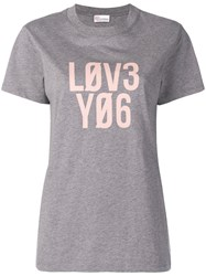 Red Valentino Love Print T Shirt Grey