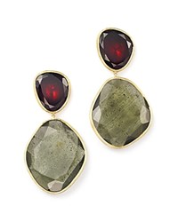 Marco Bicego 18K Yellow Gold Lunaria One Of A Kind Double Drop Earrings With Rhodalite Garnet And Aquamarine Trunk Show Exclusive Green Red