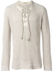 Nuur Lace Up Jumper Nude And Neutrals