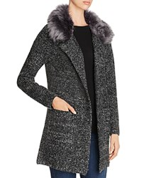 B Collection By Bobeau Hanne Faux Fur Sweater Coat Charcoal Grey