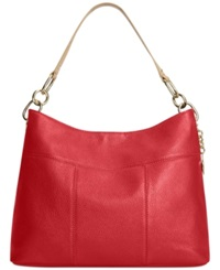 Tommy Hilfiger Th Signature Leather Small Hobo Tommy Red
