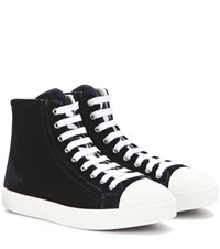 Prada Velvet High Top Sneakers Blue