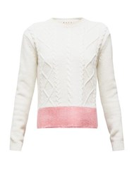Marni Contrast Hem Cable Knit Wool Sweater White Multi