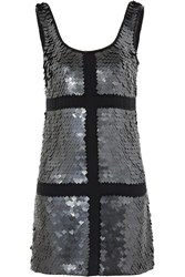 Rachel Gilbert Cleo Paillette Embellished Silk Dress Black