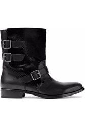 Belstaff Beddington Paneled Calf Hair And Leather Ankle Boots Black