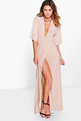 Boohoo Kimono Open Back Tie Detail Maxi Dress Stone