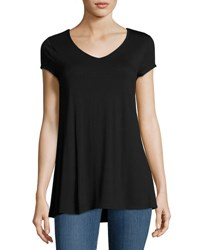 Neiman Marcus Cap Sleeve Lace Back Jersey Tunic Black