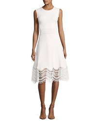 Lela Rose Sleeveless Lace Hem Dress White
