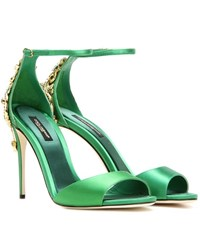 Dolce And Gabbana Crystal Embellished Satin Sandals Green