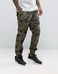 New Look Woven Joggers In Camo Print Camo Green
