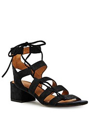 Frye Chrissy Side Ghillie Suede Sandals Black