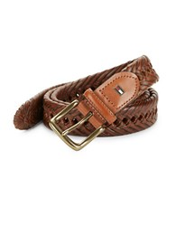 Tommy Hilfiger Braided Leather Belt Tan