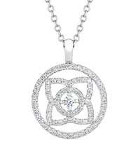 De Beers White Gold And Diamond Enchanted Lotus Openwork Pendant Silver