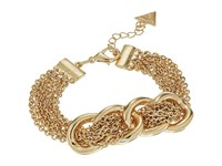 Guess Frozen Link With Chain Woven Through Bracelet Gold Bracelet