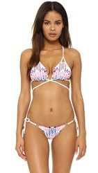 Red Carter Dream Catcher Strappy Back Wrap Bikini Top White