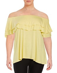 Context Plus Ruffled Off The Shoulder Top Yellow