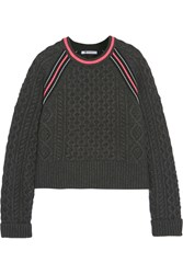 Alexander Wang Aran Knit Wool Blend Sweater Gray