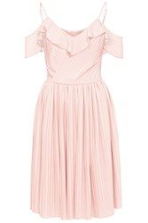 Wolf And Whistle Crinkle Cold Shoulder Frill Dress Peach